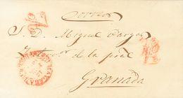 """Sobre . 1847. MALAGA A GRANADA.  Marca """"A"""", En Rojo De Abono (P.E.25) Edición 2004 (esta Marca Fue Utilizada Como Matase - Espagne"""