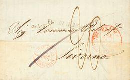 "Sobre . 1843. PALMA DE MALLORCA A LIVORNO (TOSCANA). Baeza PALMA / Y.BALEARES, Marca VIA DI NIZZA Y Porteo ""20"" Manuscri - Espagne"