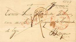 Sobre . 1848. AZCOITIA A BAYONA (FRANCIA). Baeza VERGARA / VITORIA (poco Legible) Y Marca FRANCO, En Rojo De Vergara (P. - Espagne