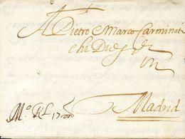 "Sobre . 1657. VENECIA A MADRID. Anotación De Porte Manuscrita ""Mº RL 17 M"" (½ Real, 17 Maravedíes). MAGNIFICA Y RARA. - España"