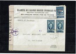 LCTN59/LE/PM - SYRIE LETTRE  ALEP / TUNIS 20/2/1945 AVEC FISCAL 5pi BLEU SURCHARGE - Syrien