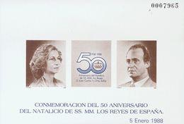 **15P. 1988. Prueba De Lujo. 50º ANIVERSARIO NATALICIO DE LOS REYES. MAGNIFICA. Edifil 2018: 120 Euros - Variedades & Curiosidades