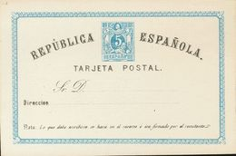 (*)EP1. 1873. 5 Cts Azul Y Negro Sobre Tarjeta Entero Postal. MAGNIFICO. Edifil 2017: 66 Euros - Enteros Postales