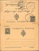 Sobre EP38. 1901. 15 Cts + 15 Cts Pizarra Sobre Tarjeta Entero Postal, De Ida Y Vuelta. La Ida Circulada De CADIZ A KARL - Enteros Postales