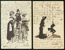 Sobre EP45(2). 1907. Precioso Conjunto De Dos Tarjetas Entero Postales (10 Cts Naranja), Decoradas A Tinta China Con Div - Enteros Postales