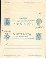 **EP60ca. 1925. 25 Cts + 25 Cts Sobre Tarjeta Entero Postal De Ida Y Vuelta (sin Doblar). Variedad AVEC REPONSE En Ambas - Enteros Postales