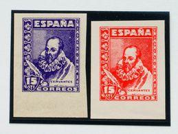 (*). 1938. 15 Cts Violeta Y 15 Cts Rojo, Bordes De Hoja. ENSAYOS DE COLOR, De Los Sellos Destinados A Los Enteros Postal - Enteros Postales