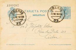 Sobre EP1i. 1936. 15 Cts Azul Sobre Tarjeta Entero Postal Militar De ORENSE A LISBOA, De Ida. MAGNIFICA Y RARA. - Enteros Postales