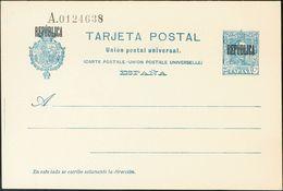 Sobre EPB6. 1931. 25 Cts Azul Sobre Tarjeta Entero Postal. Sobrecarga REPUBLICA, De Barcelona. MAGNIFICA. Edifil 2017: 8 - Enteros Postales
