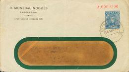 Sobre EP168. 1910. 25 Cts Azul Sobre Entero Postal Privado Con Ventana R.MONEGAL (inscripción Al Reverso) De BARCELONA A - Enteros Postales