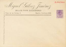 (*)EP258. 1917. 15 Cts Violeta Sobre Entero Postal Privado MIGUEL GALVEZ. MAGNIFICO Y MUY RARO. (Láiz 2006, 400 Euros) - Enteros Postales