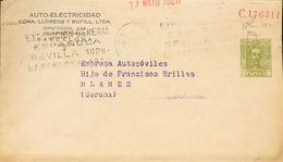 Sobre EP607. 1928. 2 Cts Verde Oliva Sobre Entero Postal Privado AUTO-ELECTRICIDAD (Teléfono 1095A) De BARCELONA A BLANE - Enteros Postales