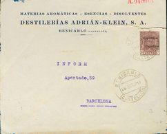 Sobre EP952. 1931. 30 Cts Castaño Sobre Entero Postal Privado DESTILERIAS ADRIAN-KLEIN De CASTELLON A BARCELONA. Al Dors - Enteros Postales