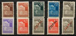 **/*. (1942ca). Conjunto De Diez Sellos De BOLSA Con Diferentes Valores Y Colores, Tres De Ellos Sobrecargados. MAGNIFIC - Barcelona
