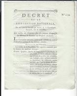 MONTRES ET PENDULES  Concours Pour Divisions  Décimales  21 Pluviôse  An 2  Décret De La Convention Nationale - Decrees & Laws