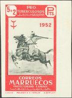(*)365. 1952. 5 Pts + 2 Pts Rojo Y Negro, Borde De Hoja. SIN DENTAR Y Al Dorso ARCHIVO RIEUSSET MUESTRA. MAGNIFICO. - España