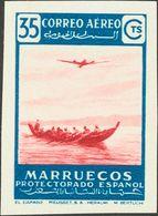 (*)369. 1953. 35 Cts Azul Y Carmín. SIN DENTAR Y Al Dorso ARCHIVO RIEUSSET MUESTRA. MAGNIFICA. Edifil 2013: 55 Euros - España