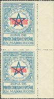 **34H, 34D. 1935. 5 Cts Azul (Tipo II) Y 5 Cts Azul (Tipo I), Unidos En Pareja Vertical. MAGNIFICA. Edifil 2018: +66 Eur - España