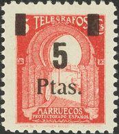 **51. 1945. 5 Pts Sobre 5 Cts Rosa Carmín. MAGNIFICO Y EXTRAORDINARIAMENTE RARO EN NUEVO, ESPECIALMENTE SIN FIJASELLOS.  - España