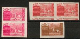 */(*)13P(3). 1941. Conjunto De Tres ENSAYOS DE COLOR Del 10 Cts (dos En Parejas) En Rosa (sobre Cartulina), Carmín Y Car - España