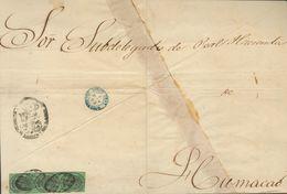 Sobre . 1859. 4 Onzas Negro Sobre Verde, Tira De Tres. Frente De Plica De SAN JUAN A HUMACAO. Matasello PARRILLA COLONIA - España