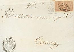 Sobre Cuba 22(2). 1868. 5 Cts Lila, Pareja. Frente De Plica Judicial De SAN JUAN A CAMUY (franqueada Con Sellos De Cuba  - España