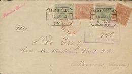 Sobre 93, 95, 72, 77. 1893. 2 Ctvos Castaño Rojo, 5 Ctvos Verde Azul, 1 Mils Verde Azul Y 1 Ctvo Castaño Naranja. Certif - España