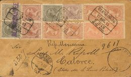 Sobre 102(2),104(2),105(4),107,108. 1895. ½ Mils Castaño Rojo, Dos Sellos, 2 Mils Naranja, Dos Sellos, 4 Mils Castaño, C - España