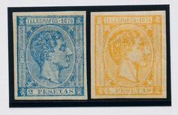 *11s, 12s. 1876. 2 Pts Azul Y 4 Pts Amarillo. SIN DENTAR. MAGNIFICOS. Edifil 2020: 90 Euros - España