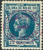 *17hcc. 1907. 15 Cts Sobre 25 Cts Azul. Variedad CAMBIO DE COLOR EN LA SOBRECARGA, En Violeta. MAGNIFICA. Edifil 2018: 6 - España