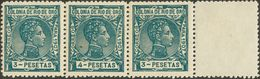 **30(2), 31ec. 1907. 3 Pts Verde, Dos Sellos Y 4 Pts Verde ERROR DE COLOR, Unidos En Una Tira De Tres. MAGNIFICA Y RARIS - España