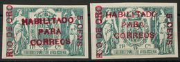 *40A, 40C. 1908. 5 Cts Sobre 50 Cts Verde, Dos Sellos, Uno De Ellos Con Numeración. MAGNIFICOS. Edifil 2018: 410 Euros - España