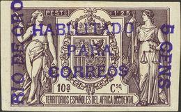 *. 1908. 5 Cts Sobre 1'25 Pts Violeta. ENSAYO DE HABILITACION, En Violeta. MAGNIFICO Y RARISIMO, NO RESEÑADO. Cert. COME - España