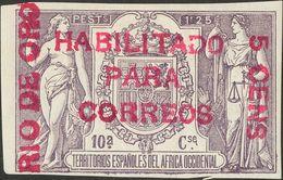 *. 1908. 5 Cts Sobre 1'25 Pts Violeta. ENSAYO DE HABILITACION, En Carmín Lila. MAGNIFICO Y RARISIMO, NO RESEÑADO. Cert.  - España