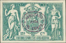 Sobre . 1908. 15 Cts Sobre 50 Cts Verde. ENSAYO DE HABILITACION, En Violeta (oval). MAGNIFICO Y RARISIMO, NO RESEÑADO. C - España