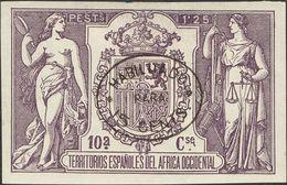 *. 1908. 15 Cts Sobre 1'25 Pts Violeta. ENSAYO DE HABILITACION, En Negro (oval). MAGNIFICO Y RARISIMO. Cert. COMEX. - España