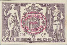 *. 1908. 15 Cts Sobre 1'25 Pts Violeta. ENSAYO DE HABILITACION, En Carmín (oval). MAGNIFICO Y RARISIMO, NO RESEÑADO. Cer - España