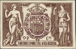 *. 1908. 15 Cts Sobre 2 Pts Castaño Oscuro. ENSAYO DE HABILITACION, En Violeta (oval). MAGNIFICO Y RARISIMO, NO RESEÑADO - España