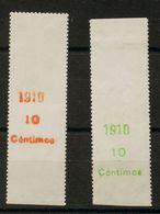 **55/56MP. 1910. Serie Completa, Sobre Bordes De Hoja. MAGNIFICA. Edifil 2018: 100 Euros - España