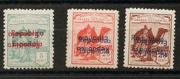 *36Bhhi, 40Bhhi, 41Bhhi. 1932. 5 Cts Verde, 25 Cts Rojo Y 30 Cts Castaño Rojo. Variedad SOBRECARGA DOBLE, UNA INVERTIDA. - España