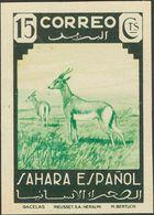 (*)66s. 1943. 15 Cts Verde Y Verde Amarillo. SIN DENTAR Y Al Dorso ARCHIVO RIEUSSET MUESTRA. MAGNIFICO. Edifil 2013: 47  - España