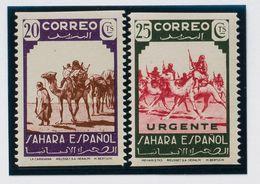 **67sh, 74sh. 1943. 20 Cts Lila Y Castaño Y 25 Cts Verde Y Carmín. Variedad SIN DENTADO HORIZONTAL. MAGNIFICOS. Edifil 2 - España
