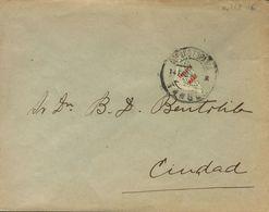 Sobre 5. 1916. 20 Cts Verde Bronce BISECTADO. Correo Interior De TANGER. MAGNIFICA Y RARA. - España