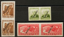 **80s(2), 83s(2), 84s(2). 1933. 60 Cts Oliva, 10 Pts Castaño Y 20 Cts Rojo, En Pareja. SIN DENTAR. MAGNIFICAS. Edifil 20 - España