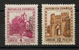 **/*NE7/8. 1937. 4 Pts Rosa Lila Y 10 Pts Castaño (este último Sin Fijasellos) NO EMITIDOS. Muy Bien Centrados. MAGNIFIC - España
