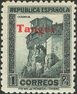 **124hcc. 1939. 1 Pts Pizarra. Variedad CAMBIO DE COLOR EN LA SOBRECARGA, En Carmín. MAGNIFICO. Edifil 2018: +225 Euros - España