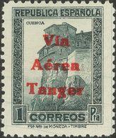 **138hcc. 1938. 1 Pts Pizarra. Variedad CAMBIO DE COLOR DE LA SOBRECARGA, En Rojo. MAGNIFICO. Edifil 2018: 75 Euros - España