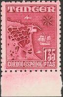 **162ec. 1948. 1'35 Pts Carmín Vinoso, Borde De Hoja. CAMBIO DE COLOR. MAGNIFICO. Edifil 2018: +155 Euros - España