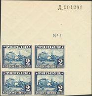 **170s(4). 1948. 2 Pts Azul, Bloque De Cuatro, Esquina De Pliego. SIN DENTAR. MAGNIFICO. Edifil 2018: +380 Euros - España