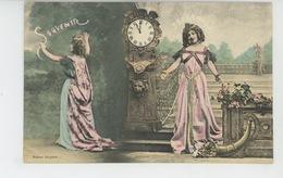 """FEMMES - FRAU - LADY - Jolie Carte Fantaisie Femmes Et Horloge Corne D'abondance """"Souvenir """" - Edit. BERGERET - Frauen"""